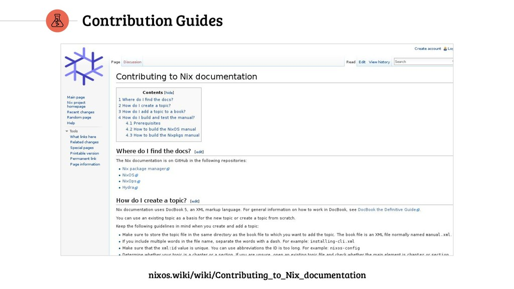Contribution Guides nixos.wiki/wiki/Contributin...