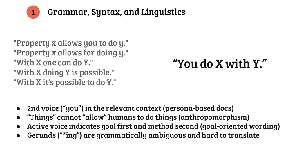 "Grammar, Syntax, and Linguistics 1 ""Property x ..."