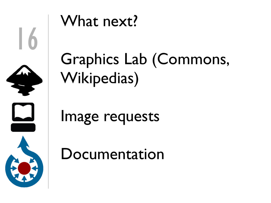 16 What next? Graphics Lab (Commons, Wikipedias...