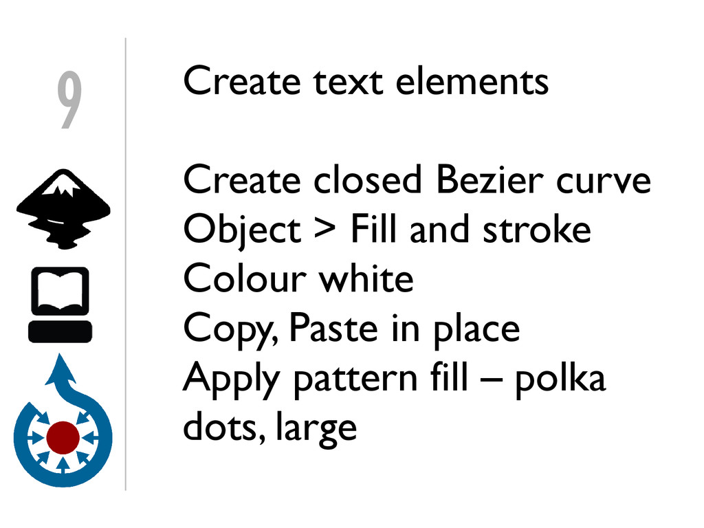 Create text elements Create closed Bezier curve...