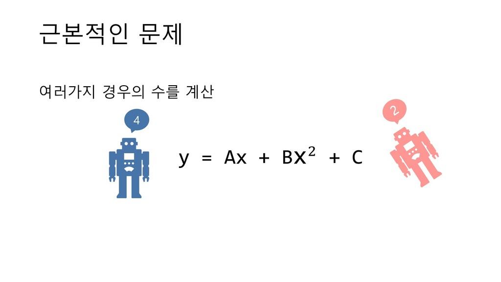 근본적인 문제 여러가지 경우의 수를 계산 y = Ax + Bx! + C 4
