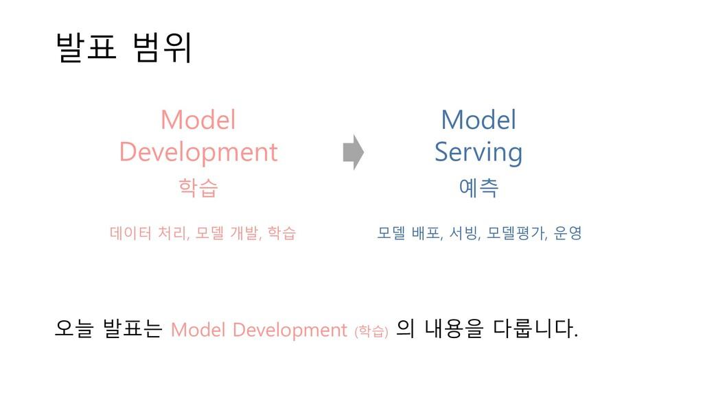 오늘 발표는 Model Development (학습) 의 내용을 다룹니다. 발표 범위...