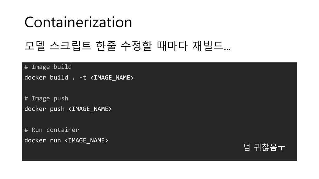 Containerization # Image build docker build . -...