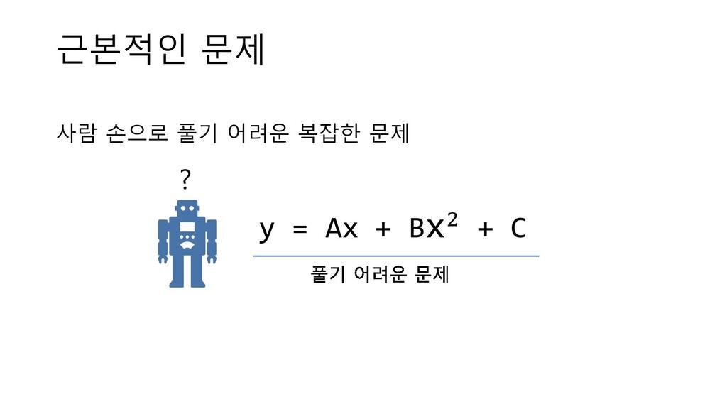 근본적인 문제 사람 손으로 풀기 어려운 복잡한 문제 ? y = Ax + Bx! + C