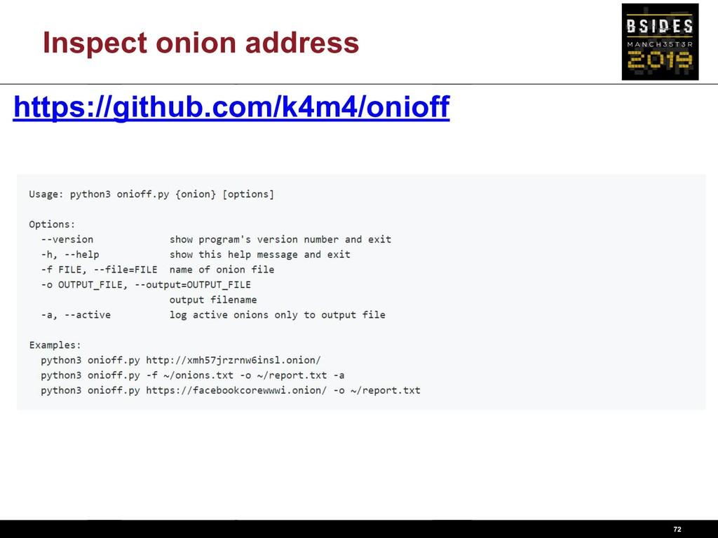 Inspect onion address 72 https://github.com/k4m...