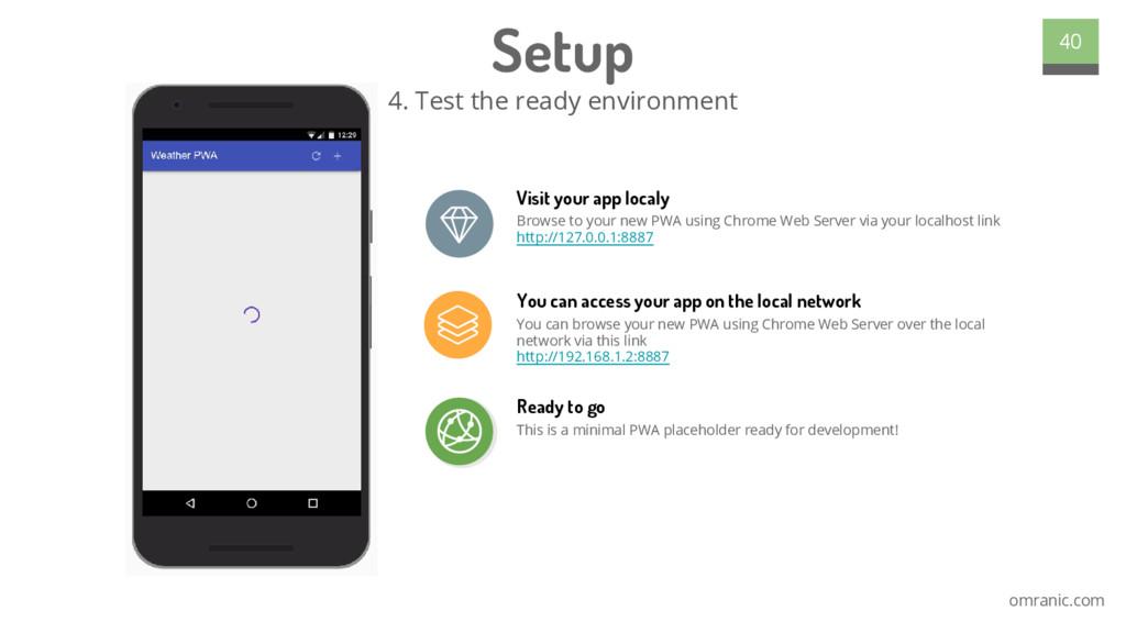omranic.com Setup 4. Test the ready environment...