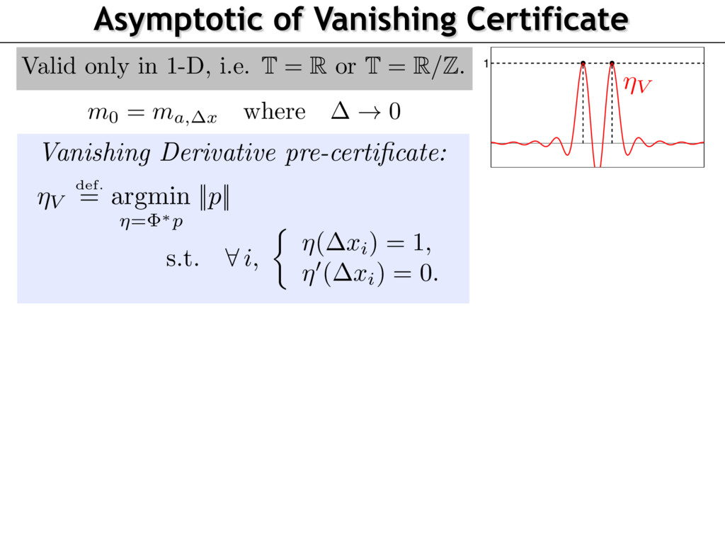 Asymptotic of Vanishing Certificate 1 ⌘V Vanish...