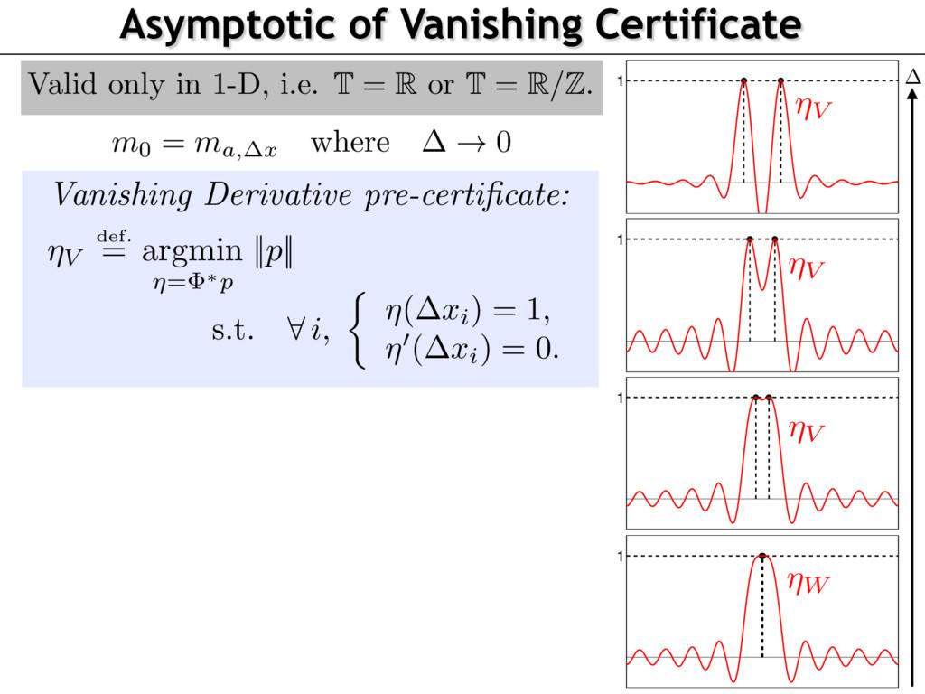 Asymptotic of Vanishing Certificate 1 ⌘V 1 1 1 ...