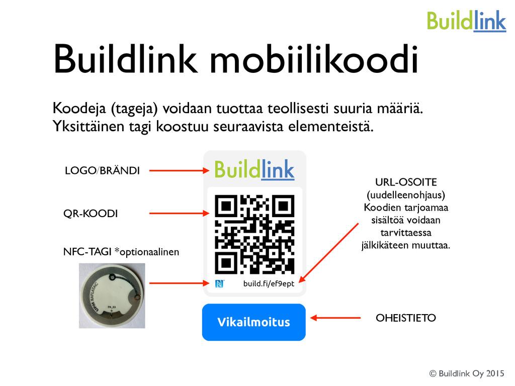 Buildlink mobiilikoodi Koodeja (tageja) voidaan...