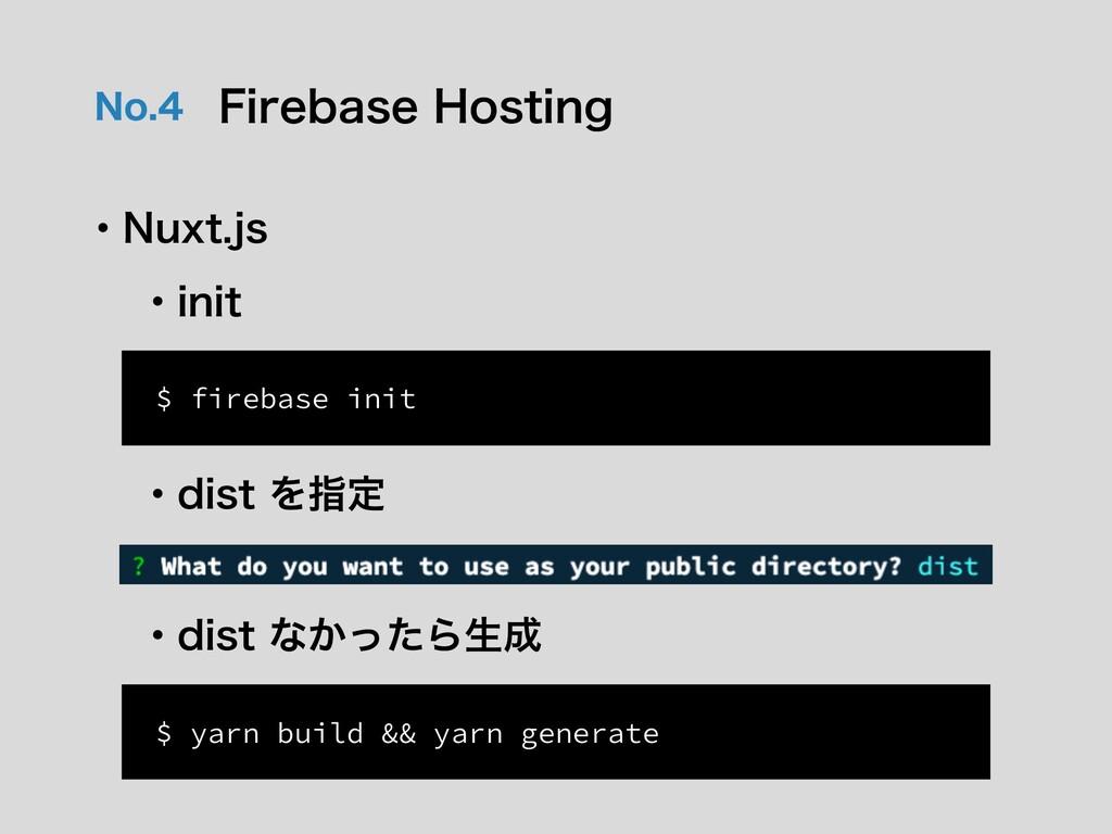 /P 'JSFCBTF)PTUJOH ɾ/VYUKT $ firebase init ...
