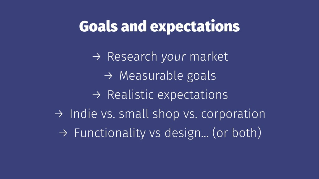 Goals and expectations → Research your market →...