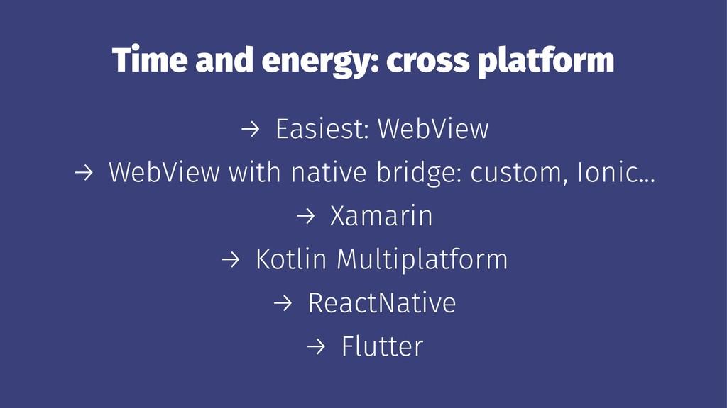 Time and energy: cross platform → Easiest: WebV...