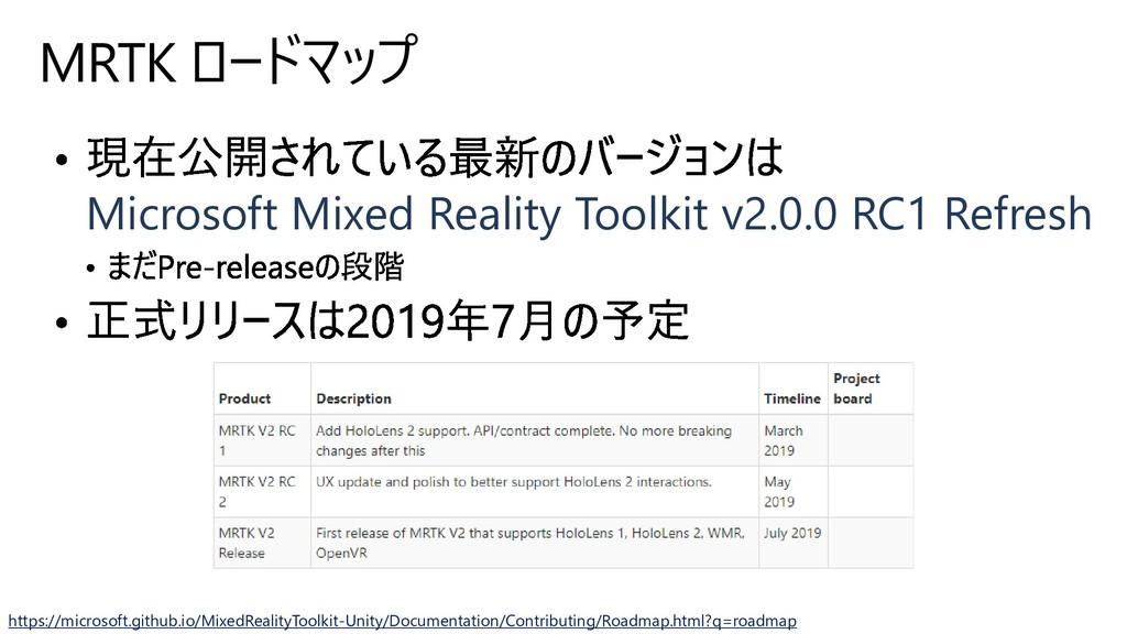 MRTK ロードマップ Microsoft Mixed Reality Toolkit v2....