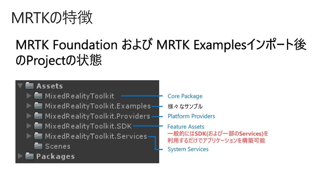 MRTKの特徴 Feature Assets 一般的にはSDK(および一部のServices)...