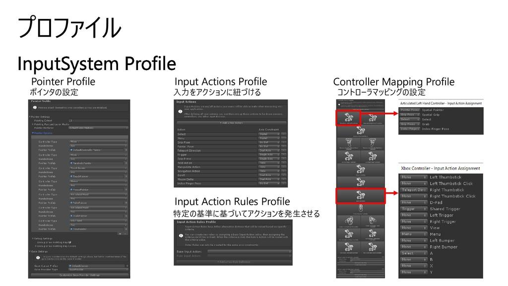 プロファイル Pointer Profile Input Actions Profile In...