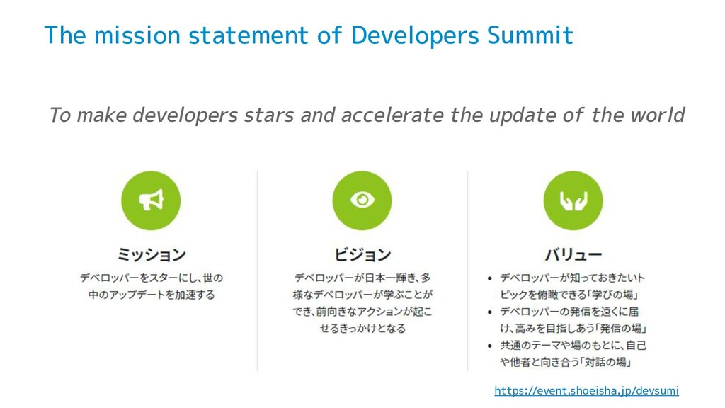 The mission statement of Developers Summit To m...