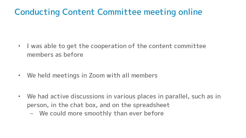 Conducting Content Committee meeting online • I...