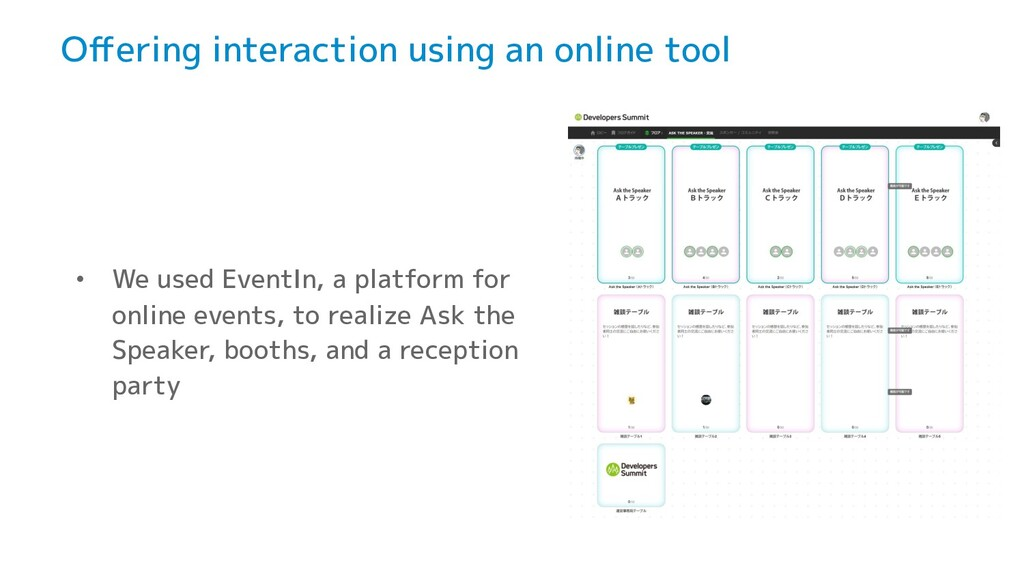 Offering interaction using an online tool • We u...