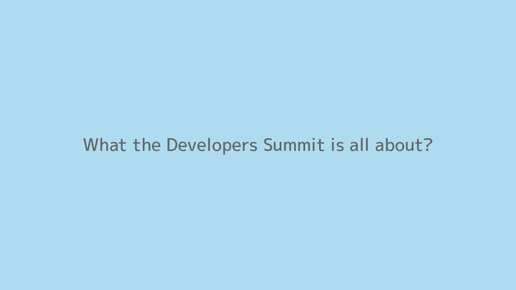 What the Developers Summit is all about?