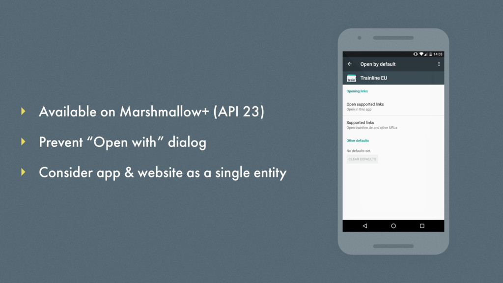 Available on Marshmallow+ (API 23) Consider app...