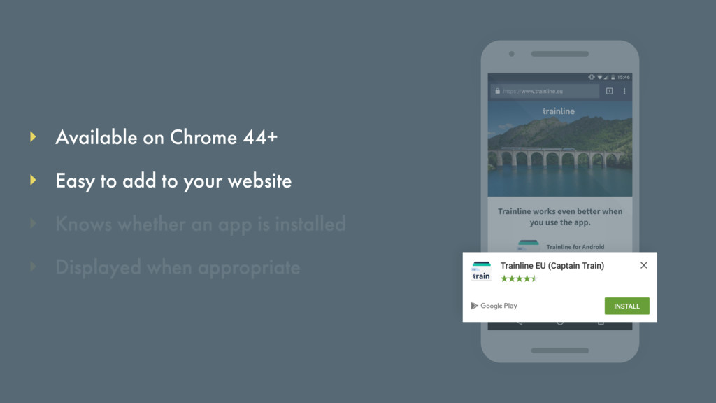 Available on Chrome 44+ Knows whether an app is...