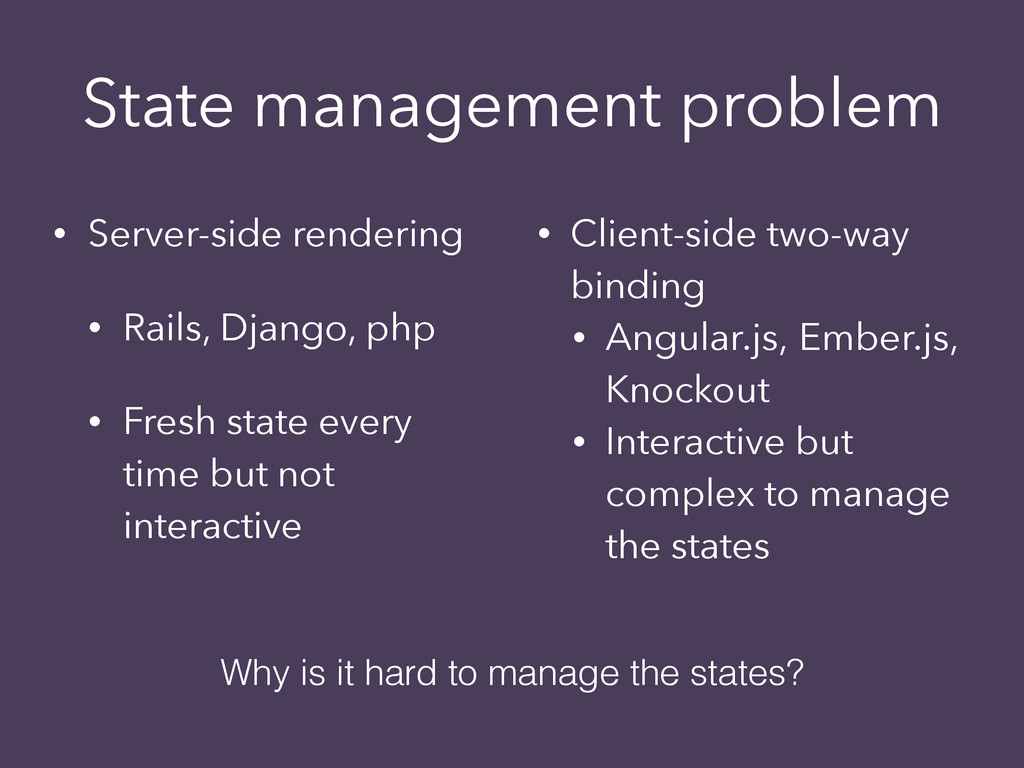State management problem • Server-side renderin...