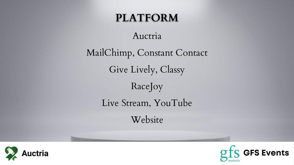 PLATFORM Auctria MailChimp, Constant Contact Gi...
