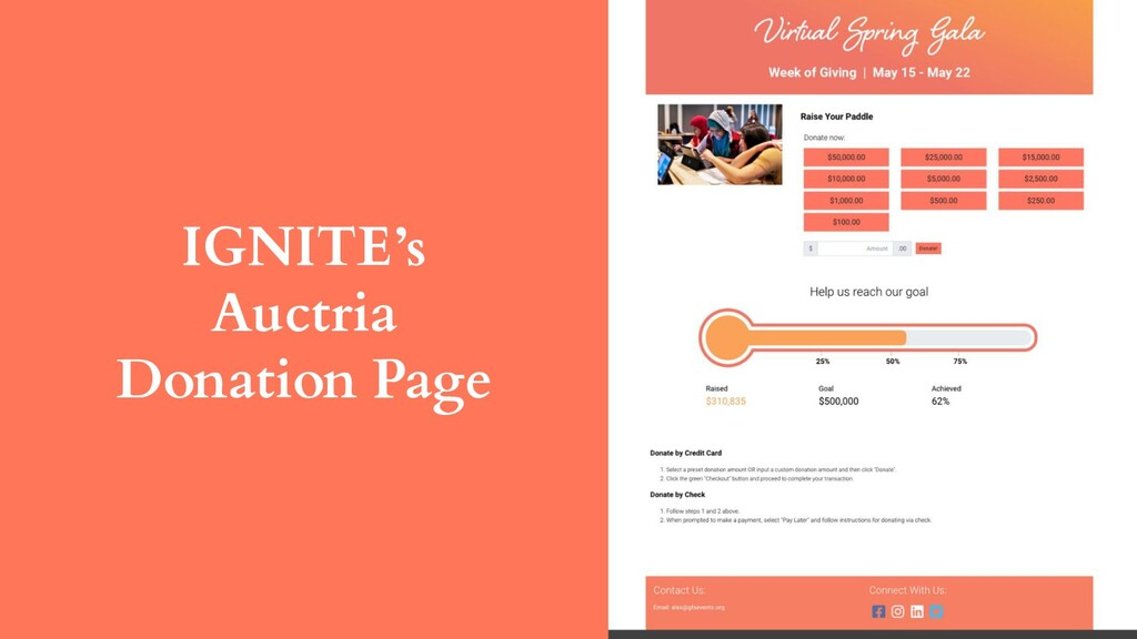IGNITE's Auctria Donation Page
