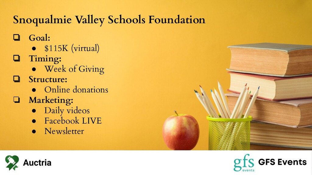 Snoqualmie Valley Schools Foundation ❏ Goal: ● ...