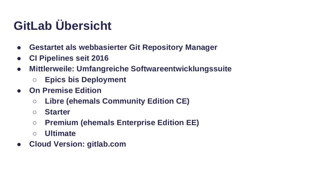 GitLab Übersicht ● Gestartet als webbasierter G...
