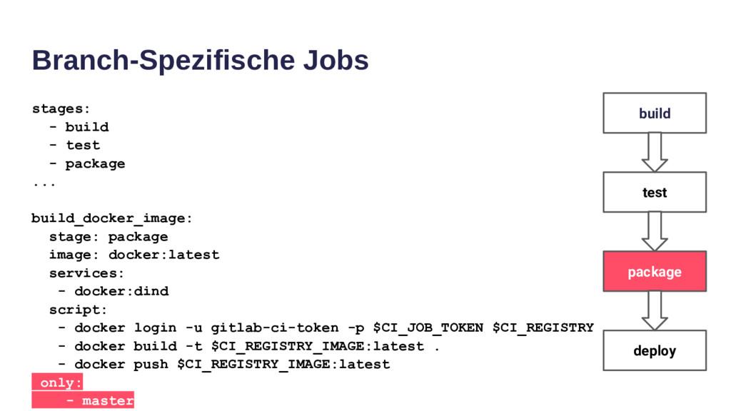 Branch-Spezifische Jobs stages: - build - test ...