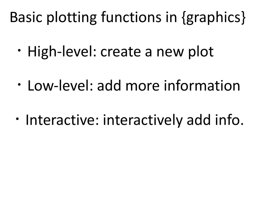 Basic plotting functions in {graphics} ・High-le...