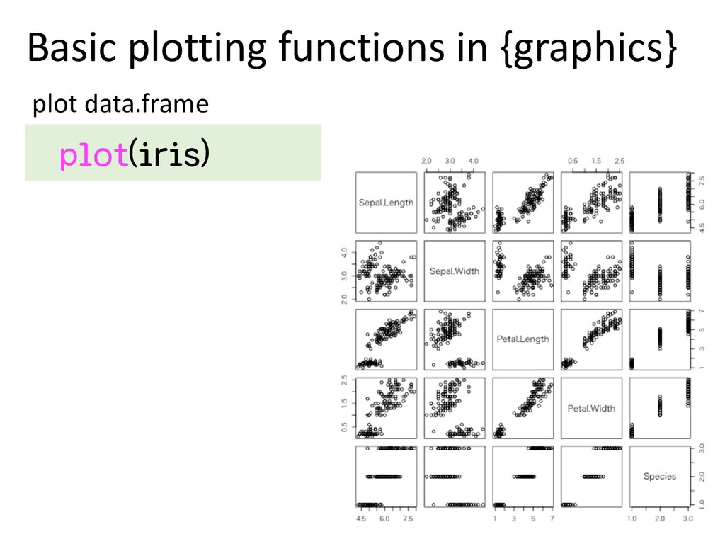 Basic plotting functions in {graphics} plot dat...