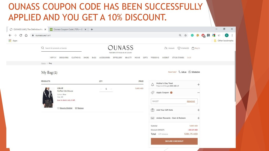 OUNASS COUPON CODE HAS BEEN SUCCESSFULLY APPLIE...