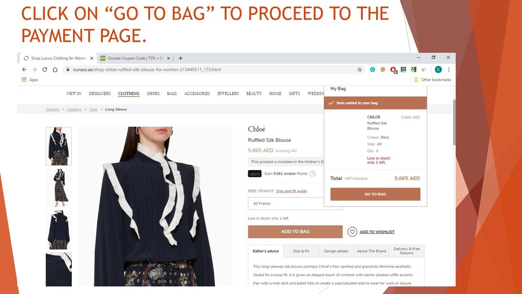 "CLICK ON ""GO TO BAG"" TO PROCEED TO THE PAYMENT ..."