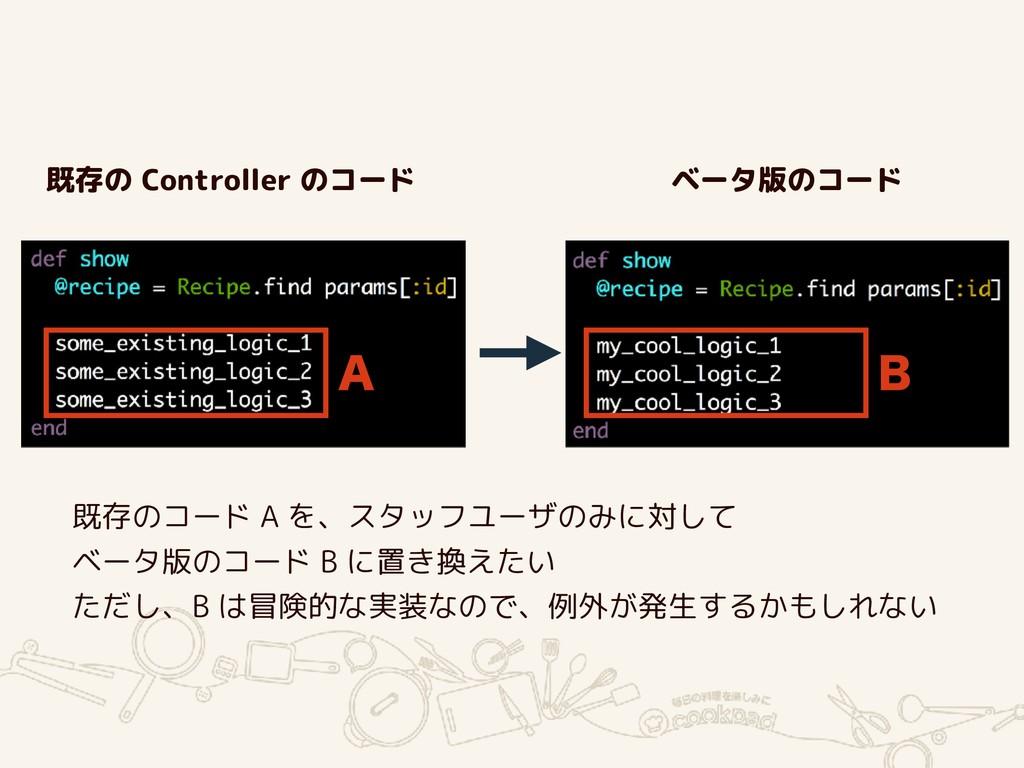 """"""" # 既存のコード A を、スタッフユーザのみに対して ベータ版のコード B に置き換えたい..."""