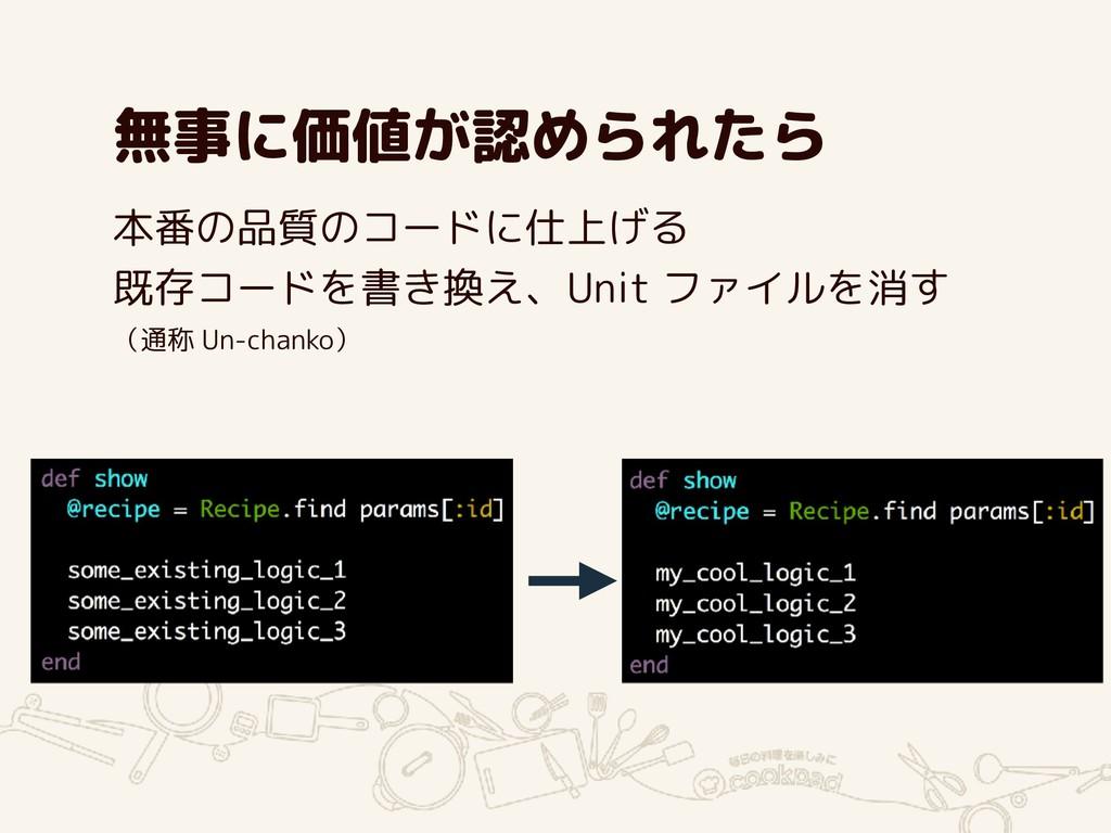 無事に価値が認められたら 本番の品質のコードに仕上げる 既存コードを書き換え、Unit ファイ...