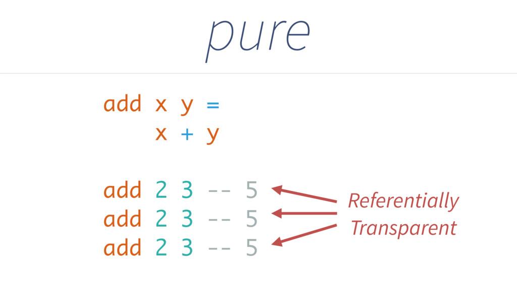 pure add x y = x + y add 2 3 -- 5 add 2 3 -- 5 ...