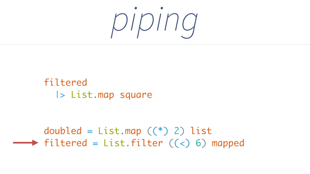 piping doubled = List.map ((*) 2) list filtered...