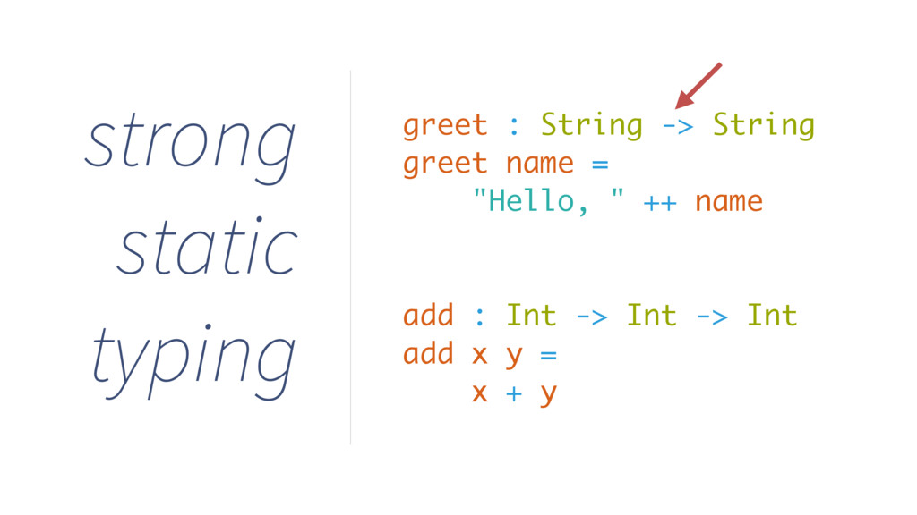 strong static typing greet : String -> String g...