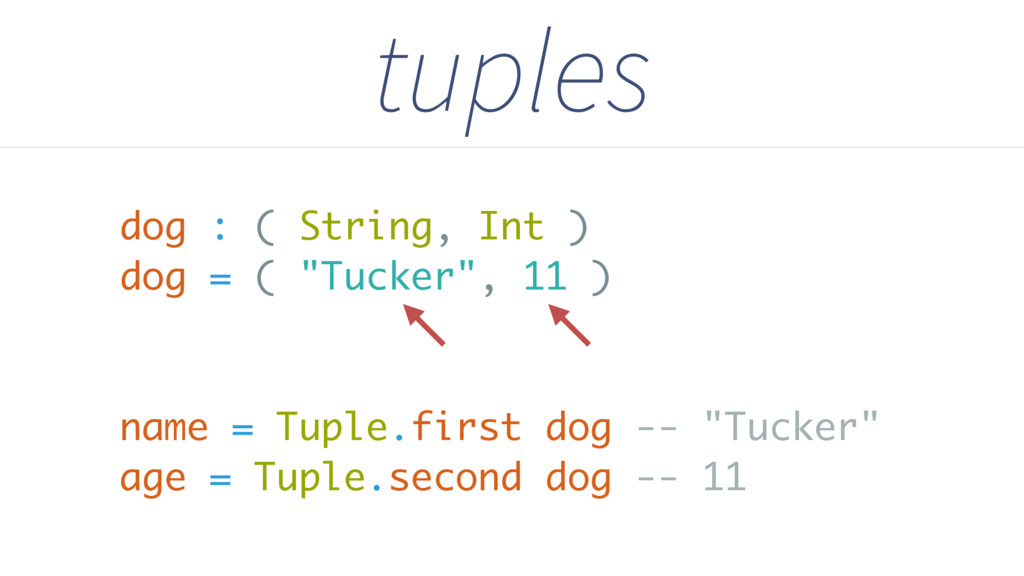 "dog : ( String, Int ) dog = ( ""Tucker"", 11 ) na..."