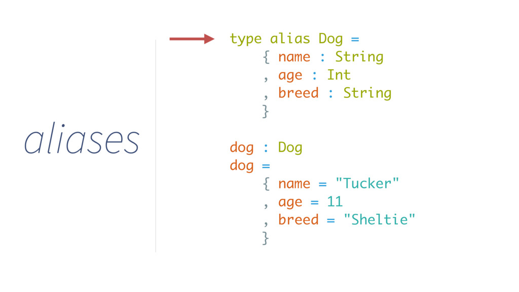 type alias Dog = { name : String , age : Int , ...