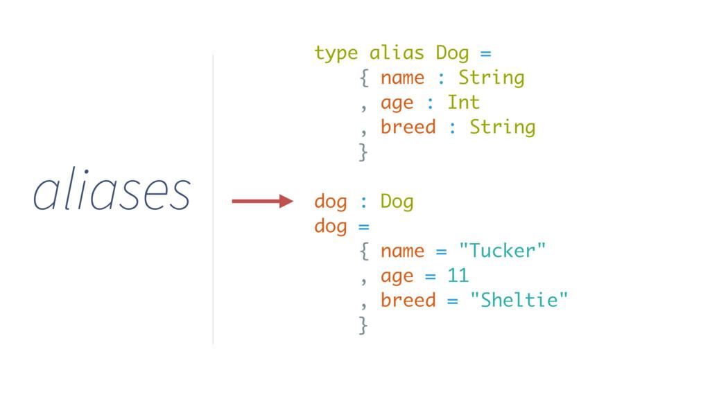 type alias Dog = { name : String , age : Int , ...