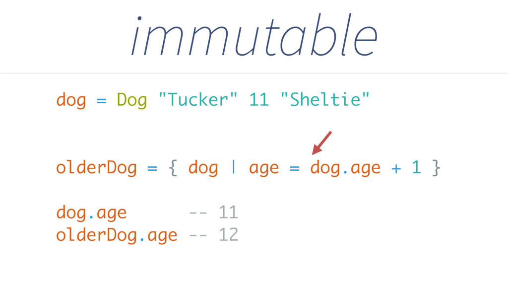 "immutable dog = Dog ""Tucker"" 11 ""Sheltie"" older..."