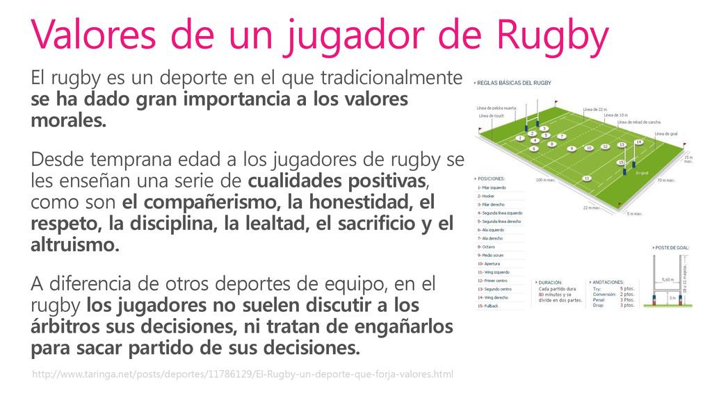 El rugby es un deporte en el que tradicionalmen...