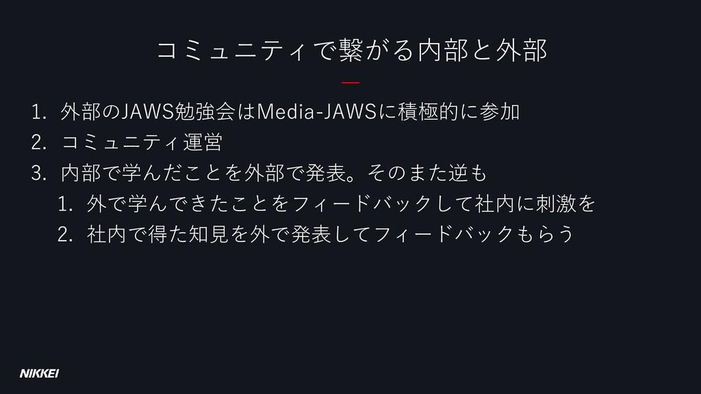 1. 外部のJAWS勉強会はMedia-JAWSに積極的に参加 2. コミュニティ運営 3. ...