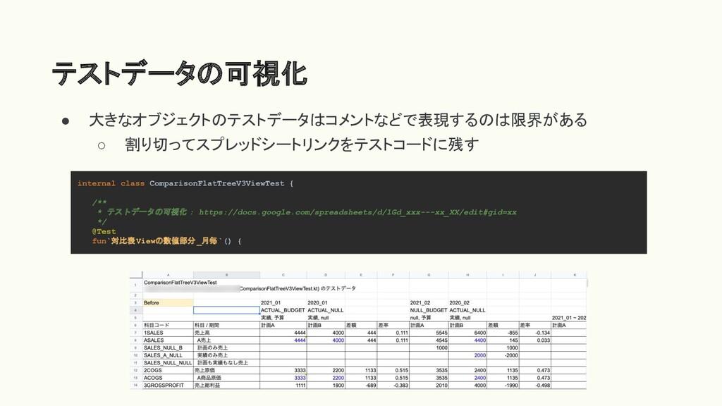 テストデータの可視化 ● 大きなオブジェクトのテストデータはコメントなどで表現するのは限界があ...