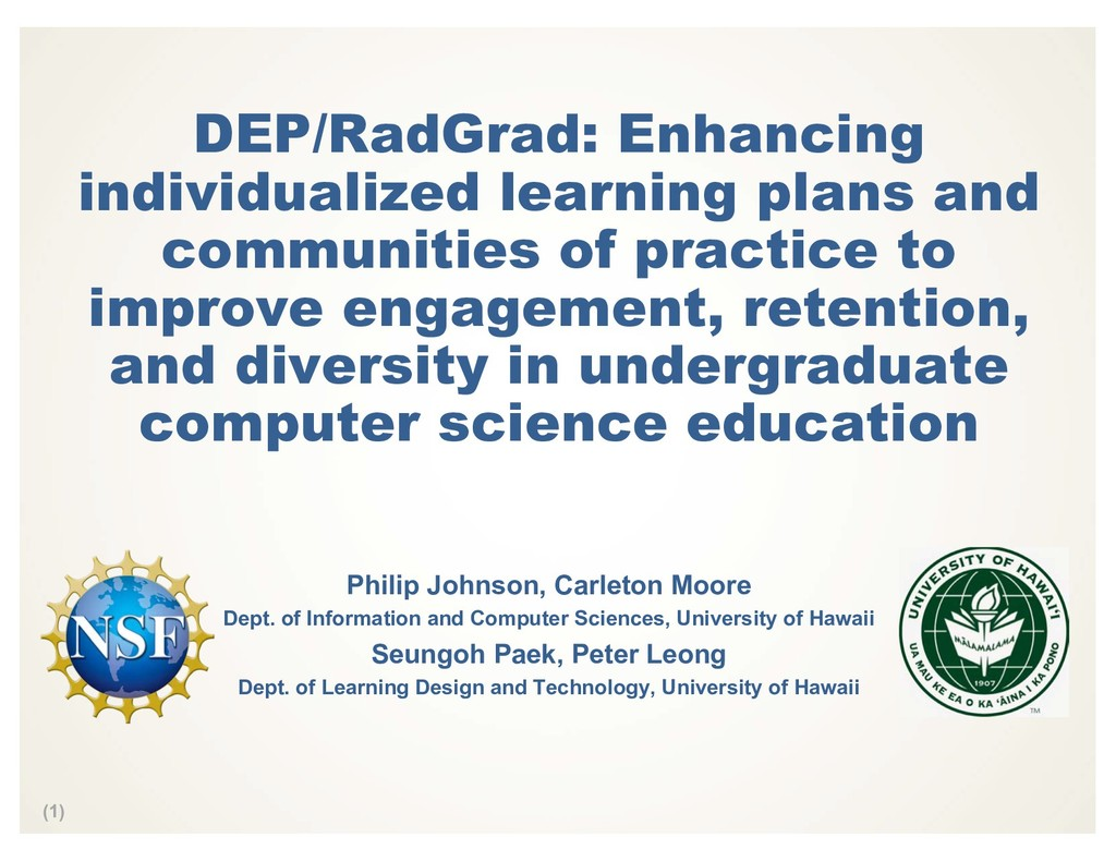 (1) DEP/RadGrad: Enhancing individualized learn...