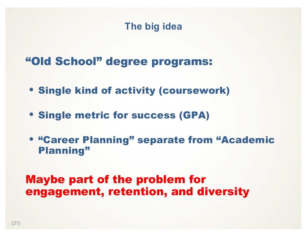 "(21) The big idea ""Old School"" degree programs:..."