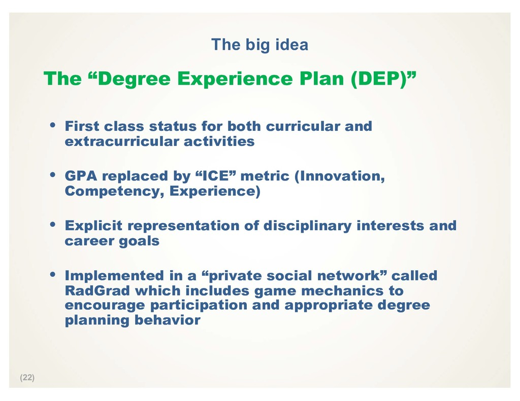 "(22) The big idea The ""Degree Experience Plan (..."